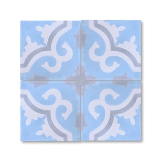Tanger Blue and Black Handmade Cement and Granite Moroccan Tile 8-inch Floor and Wall Tile (Pack of 12)