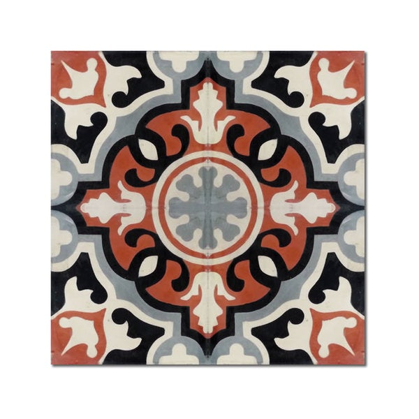 Baha Grey and Red Handmade Cement and Granite Moroccan Tile 8-inch Floor and Wall Tile (Pack of 12)