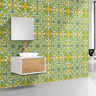 Baha Green and Yellow Handmade Cement and Granite Moroccan Tile 8-inch Floor and Wall Tile (Pack of 12)