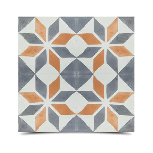Assila Grey and Orange Handmade Cement and Granite Moroccan Tile 8-inch Floor and Wall Tile (Pack of 12)