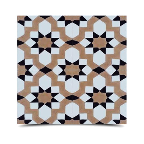 Affos Black and Beige Handmade Cement and Granite Moroccan Tile 8-inch Floor and Wall Tile (Pack of 12)