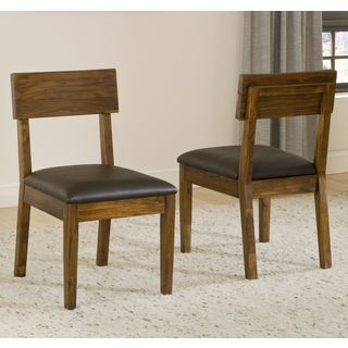 Chunky Solid Acacia Wood and Recycled Leather Dining Chair (Set of 2)