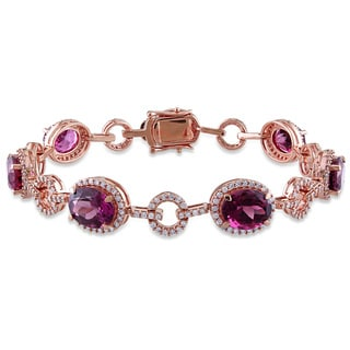 Miadora 14k Rose Gold Pink Tourmaline and 1 1/2ct TDW Diamond Bracelet (G-H, SI1-SI2)