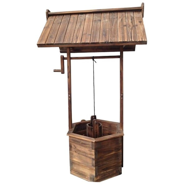 Burnt Brown Wooden Wishing Well
