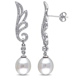 Miadora Sterling Silver Cultured Freshwater White Pearl and 1/10ct Diamond Dangle Leaf Earrings (G-H, I2-I3) (8.5- 9 mm)