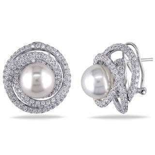 Miadora Signature Collection 18k White Gold South Sea Pearl and 4ct TDW Diamond Earrings (G-H, SI1-SI2) (11-11.5 mm)