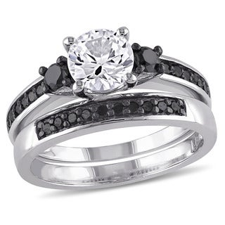 Miadora Sterling Silver Created White Sapphire and 2/5ct TDW Black Diamond Bridal Ring Set