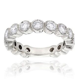Luxurman 18k White Gold 1 5/8ct TDW Round Diamond Thin Band (H-I, SI1-SI2)(Size 6)