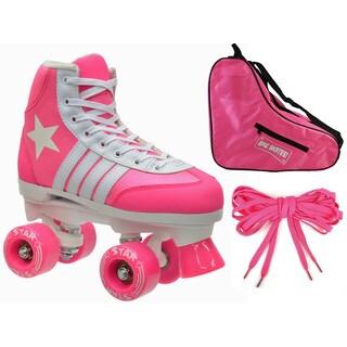 Epic 3-piece Pink Star Quad Roller Skate Bundle