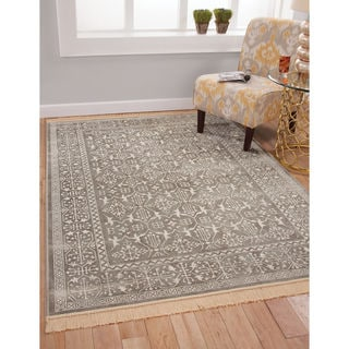 "Charlton Silver-Grey/White Viscose Rug (5'3""x7'6"")"