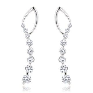 14k White Gold 1 1/3ct TDW Diamond Journey Earrings (H-I, SI1-SI2)