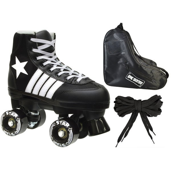Epic 3-piece Black Star Quad Roller Skate Bundle
