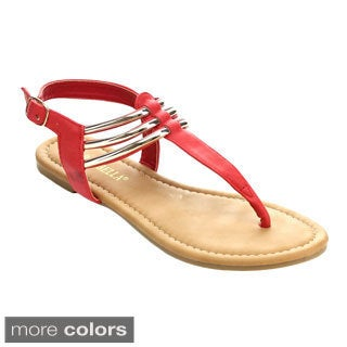 Rck Bella ARCO-3 Women's Casual Golden Sling Back T-Strap Flat Sandals