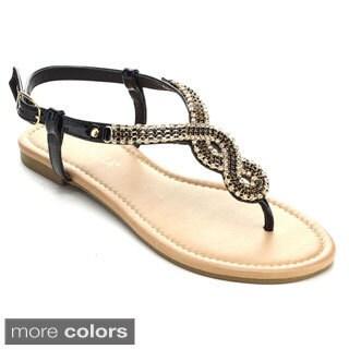Rck Bella ATIOA-43 Women's Casual Rhinestone Stud Sling Back Strap Flat Sandals