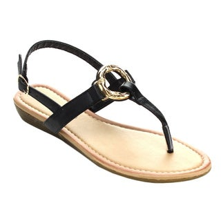 Sunny Day AVIA-30 Women's Golden T-strap Sling Back Low Wedge Sandals