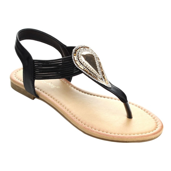 Sunny Day LOUISA-1 Women T-strap Elastic Slip On Casual Flat Dress Sandals