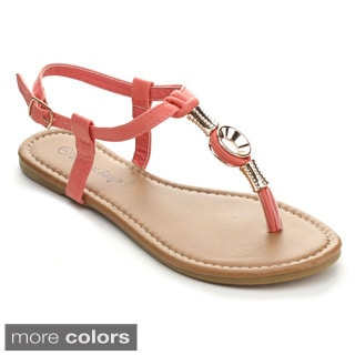 Sunny Day SAMI-60 Women's Casual T-strap Golden Embellishment Flat Sandals