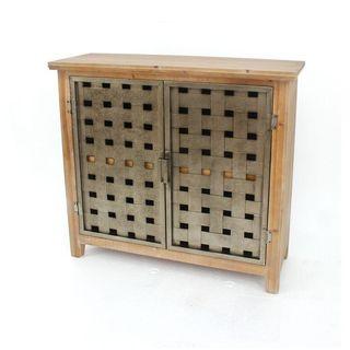 Teton Home 1 Af-076 Basket-weave Metal Front Wooden Cabinet