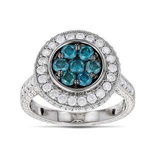 Luxurman 14k White Gold 1 5/8ct TDW Blue Diamond Circle Engagement Ring (G-H, VS1-VS2)