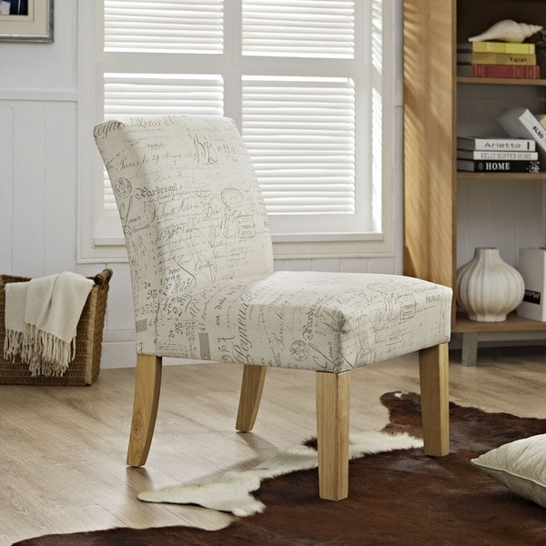 Auteur French Script-patterned Armless Club Chair