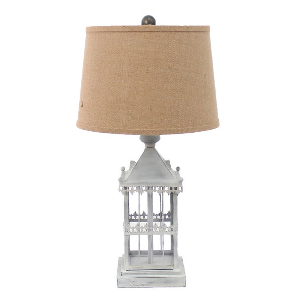 Teton Home 1 Tl-024 White Metal Bird Cage Table Lamp