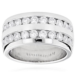 Luxurman Platinum Men's 2 1/10ct TDW Round Diamond Wedding Ring (G-H, VS1-VS2)