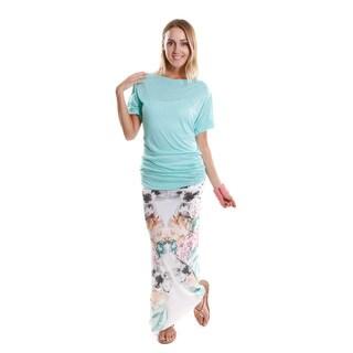 Hadari Women's Batwing Dolman Top and Maxi Skirt (2-Piece Set)