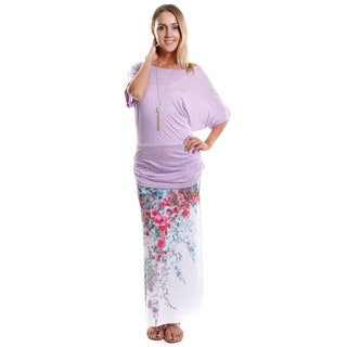 Hadari Women's Batwing Dolman Top and Maxi Skirt (2-Piece Set)
