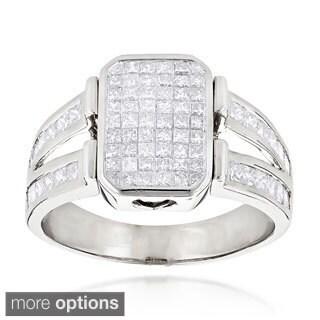 Luxurman 14k Gold Men's 2 1/2ct TDW Princess-cut Diamond Ring (H-I, SI1-SI2)