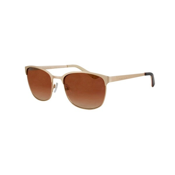 Vernier Women's Brown Double Plated Metal Club Master Sunglasses