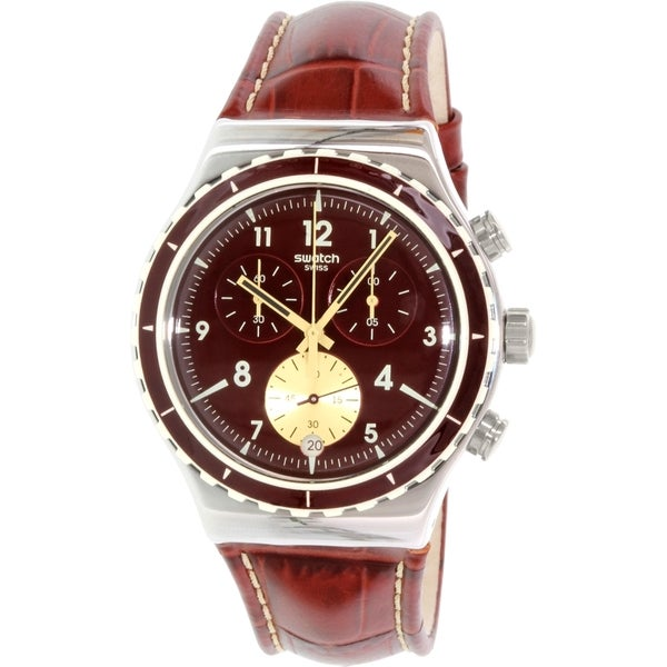 Swatch Men's Irony YVS418 Brown Leather Swiss Quartz Watch