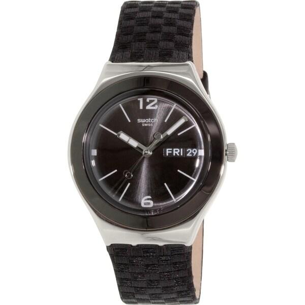 Swatch Women's Irony YGS777 Black Leather Swiss Quartz Watch