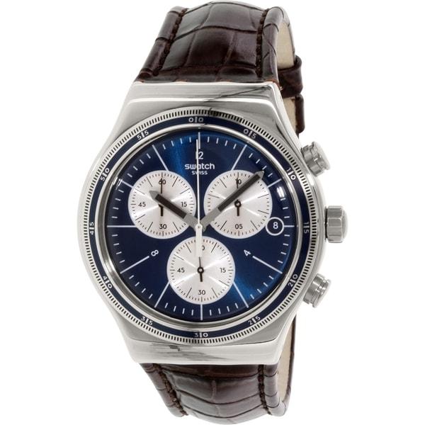 Swatch Men's Irony YVS410C Brown Leather Swiss Quartz Watch