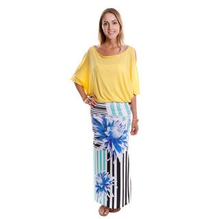 Hadari Women's Cut-out 3/4 Sleeve Top and Maxi Skirt (2-Piece Set)