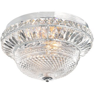 Graciela 3-light Chrome/ Crystal Glass Bowl Flush Mount Chandelier