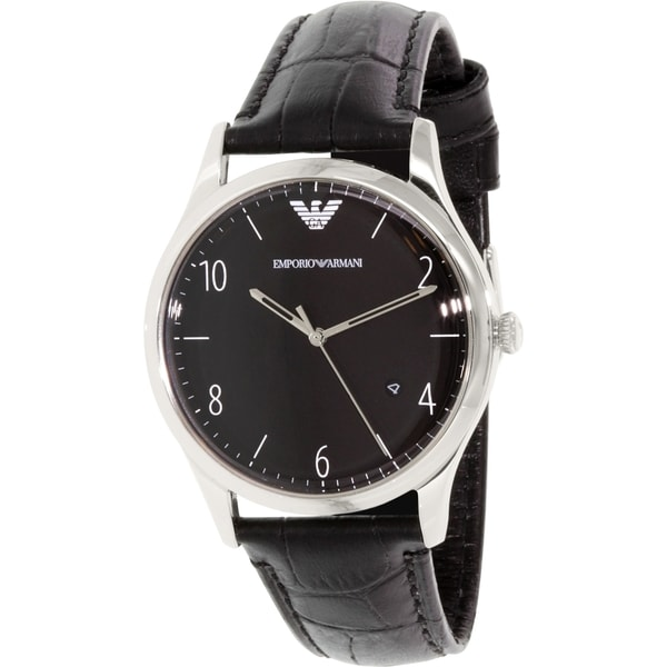 Emporio Armani Men's Classic AR1865 Black Leather Quartz Watch