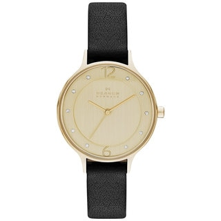 Skagen Women's SKW2266 Anita Diamond Gold Dial Black Leather Watch