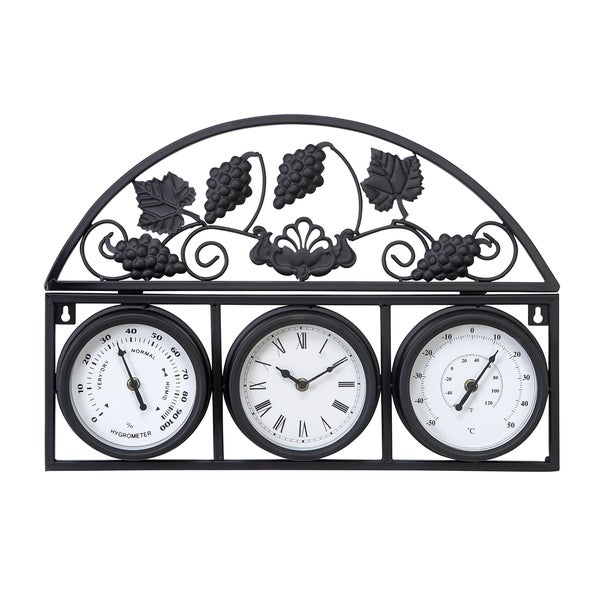Metal Outdor Clock Thermometer