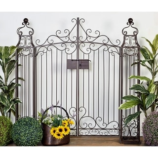 """64"""" x 60"""" Traditional Brown Scrollwork Metal Garden Gate by Studio 350"""
