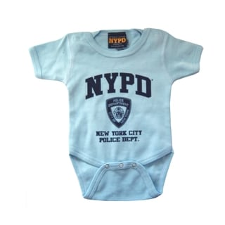 Light Blue/ Navy NYPD Print Infant Bodysuit