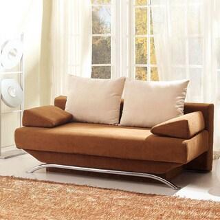 Luca Home Brown-Beige Microfiber Sofa Bed