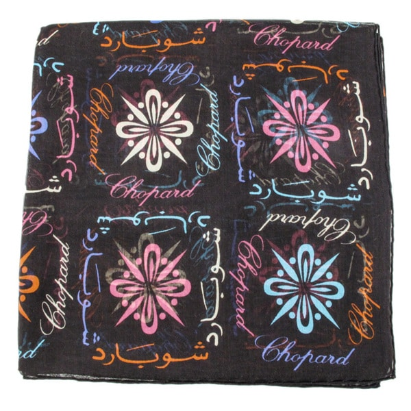 Chopard 100 Brown Silk Arabic Logomania Scarf