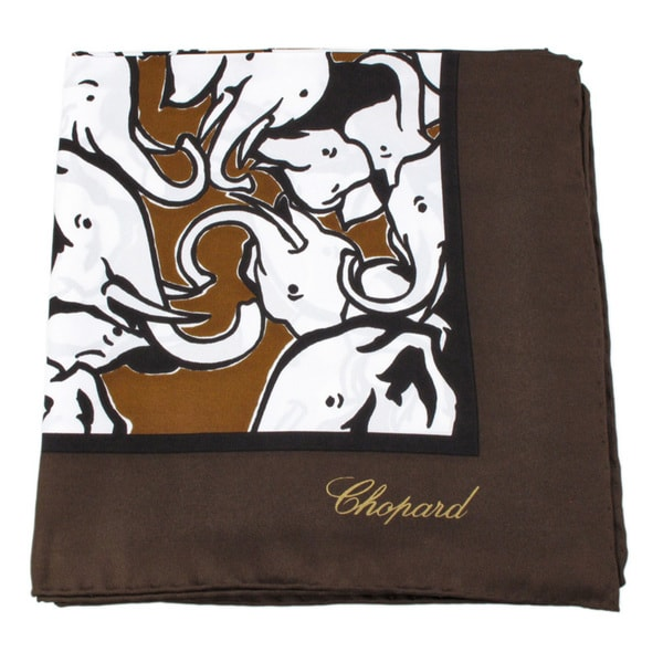 Chopard 100 Brown Silk Baby Elephant Scarf