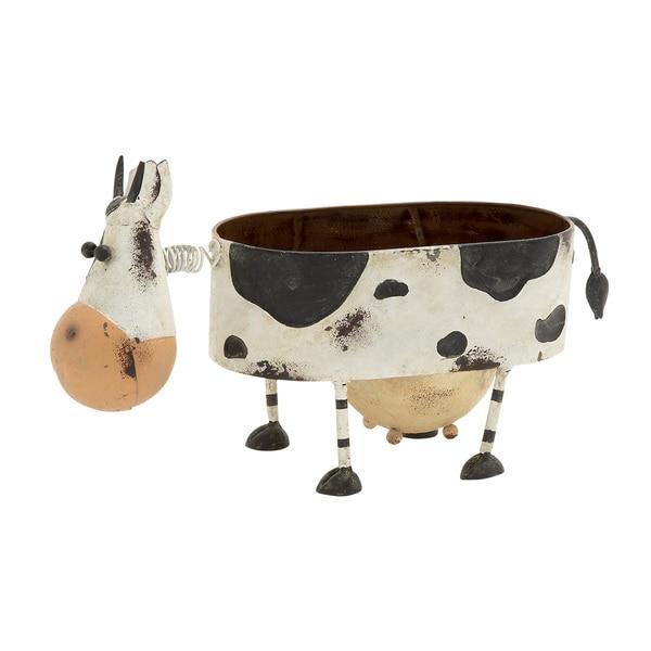 Funky Looking Metal Cow Planter