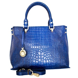 Leatherbay Italian Leather Velletri Croc Print Handbag