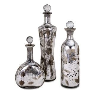 Madison Etched Mercury Glass Lidded Bottles (Set of 3)