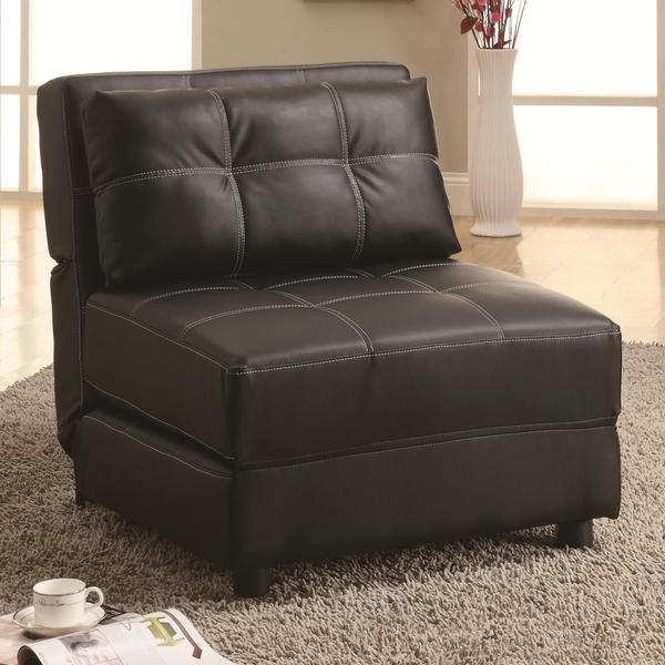 Contemporary Black Leatherette Accent Chair/ Bed Lounger