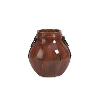 Elnora Short Vase w/ Metal Handle