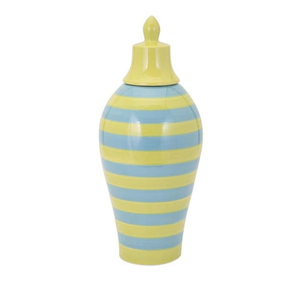Savannah Blue And Green Striped Lidded Vase - Large