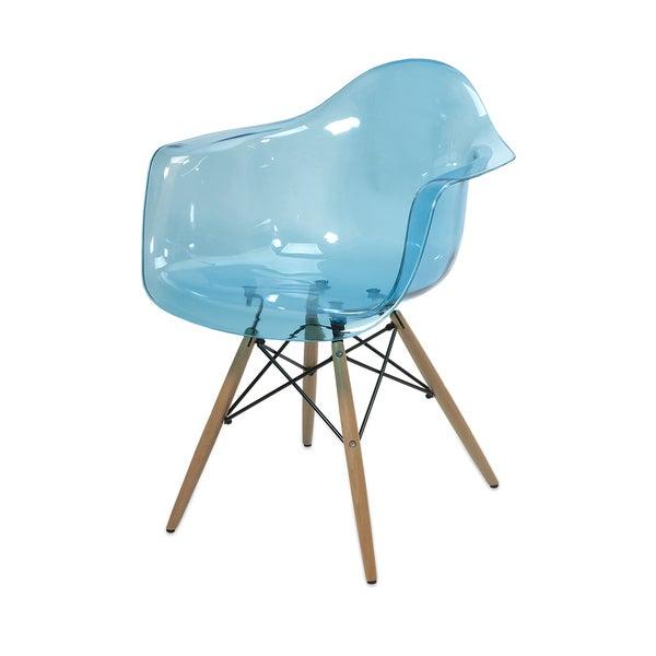 Declan Teal Blue Transparent Chair w/ Wood Leg